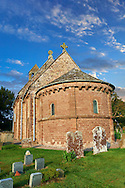 Norman Romanesque exterior of the Norman Romanesque Church of St Mary and St David, Kilpeck Herefordshire, England. Built around 1140 .<br /> <br /> Visit our MEDIEVAL PHOTO COLLECTIONS for more   photos  to download or buy as prints https://funkystock.photoshelter.com/gallery-collection/Medieval-Middle-Ages-Historic-Places-Arcaeological-Sites-Pictures-Images-of/C0000B5ZA54_WD0s