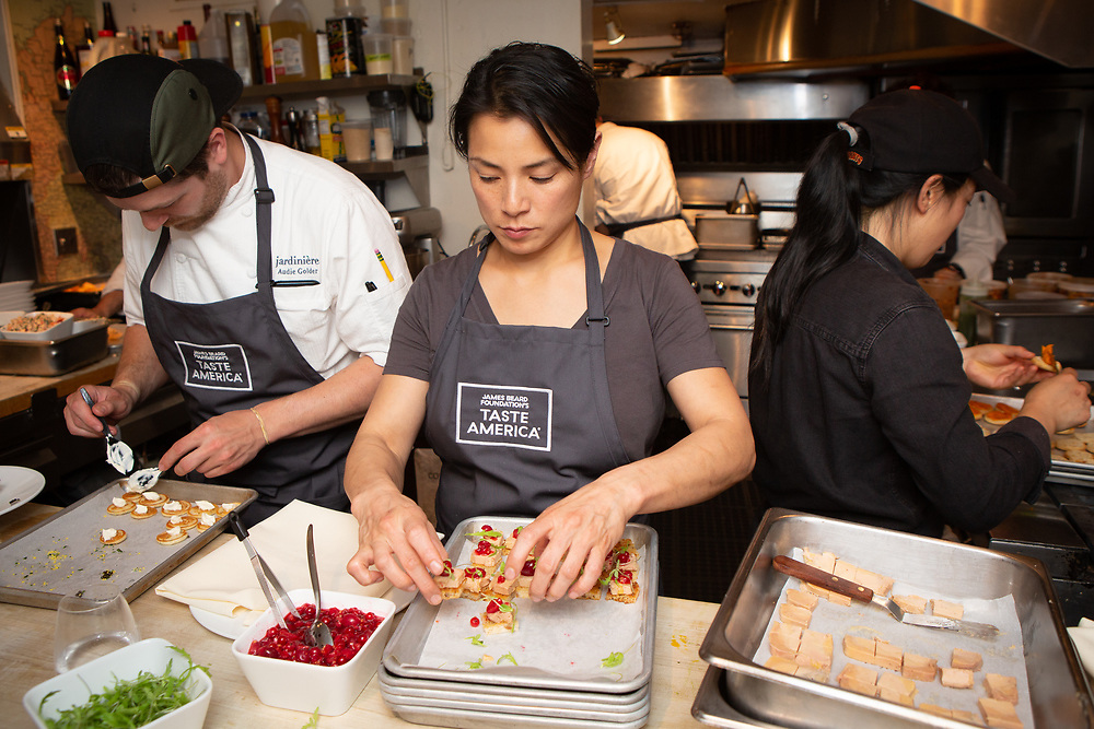 Chef Belinda Leong at the kick-off event for the James Beard Foundation's Taste America®'s 10-city national event, held August 1, 2018 at the James Beard House in New York City. <br /> <br /> CREDIT: Clay Williams for The James Beard Foundation.<br /> <br /> © Clay Williams / http://claywilliamsphoto.com