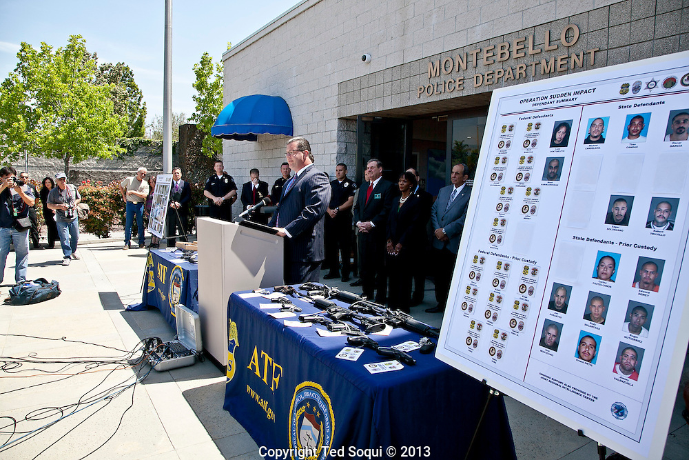 Operation Sudden Impact solves six cold case murders, and leads to the arrest of forty gang members and associates who operated in Montebello, CA. .A large cache of assault weapons, many modified to fire fully automatically, were also seized. A rocket launcher was also seized by the joint task force. .Operation Sudden Impact was a multi agency effort of the ATF, Montebello PD, LA Co. Sheriff Dept, and the CA DOC, and was a two year long investigation.