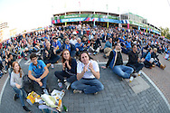 Both sets of supporters watching the South Africa vs Japan match outside Twickenham before k/o. Rugby World Cup 2015 pool D match, France v Italy at Twickenham Stadium in London on Saturday 19th September 2015.<br /> pic by John Patrick Fletcher, Andrew Orchard sports photography.