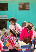 Locals trading in Paucartambo, Cusco Region, Peru, South America