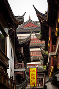 View of the Chinese style roof at Yu Yuan Gardens bazaar Shanghai, China