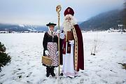 Nikolaus, Buttnmandl, Ganggerl und Kramperl: The 'Bass' of the Unterstoana Buttnmandl.<br /> <br /> Reportage about the old tradition in Schönau am Königssee, Berchtesgaden Land, Germany on December 6, 2017