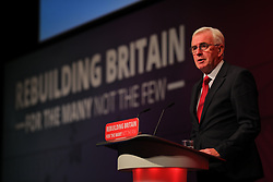 © Licensed to London News Pictures. 24/09/2018. Liverpool, UK. Shadow Chancellor John McDonnell MP speaks at the Labour Party Conference 2018. Photo credit: Rob Pinney/LNP