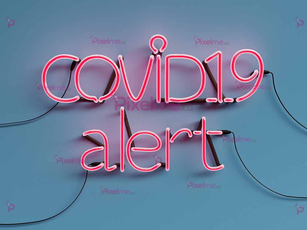 COVID19 Alert neon graphic sign with blue background mode on with red neon color - 3d rendering concept
