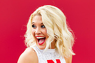 A member of the Nebraska cheer squad stands on the field prior to Nebraska's game against Indiana at Memorial Stadium in Bloomington, Ind. on Oct. 15, 2016. Photo by Aaron Babcock, Hail Varsity