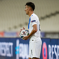 ATHENS, GREECE - OCTOBER 11: Dimitris Giannoulisof Greece during the UEFA Nations League group stage match between Greece and Moldova at OACA Spyros Louis on October 11, 2020 in Athens, Greece. (Photo by MB Media)