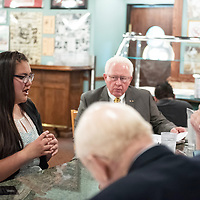 Zuni High School senior Nita Seciwa-Koons, 18, answers interview questions asked by members of the Rotary Club during the senior of the year award luncheon at Sammy C's in Gallup on Apr. 17.