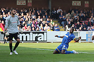 Ade Azeez of AFC Wimbledon slides in during the Sky Bet League 2 match between AFC Wimbledon and Barnet at the Cherry Red Records Stadium, Kingston, England on 3 October 2015. Photo by Stuart Butcher.