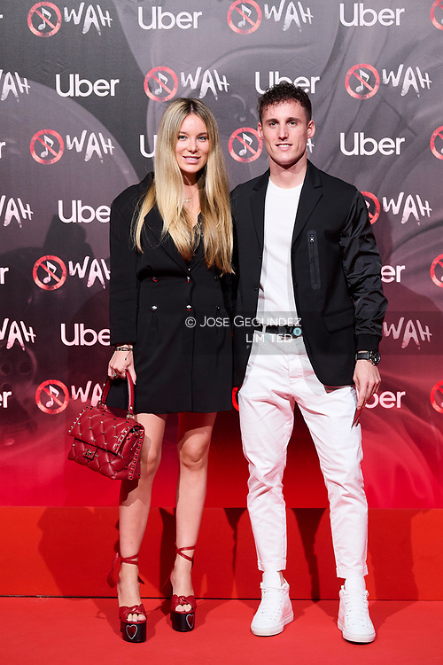 Pol Espargaro, Carlota Bertran attends 'Wah' Musical Show World Premiere Red Carpet at IFEMA on October 7, 2021 in Madrid, Spain