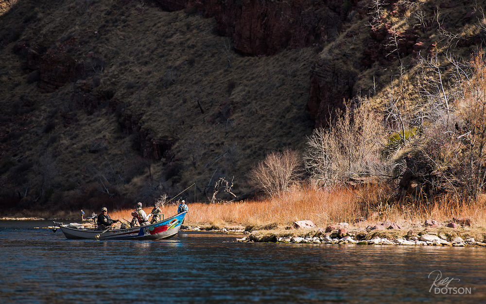 As evening light tapers off, anglers eaglerly position themselves to the rising trout above Little Hole on the Green River.