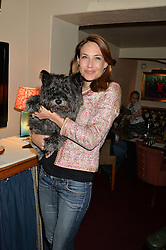 CLAIRE FORLANI and her dog Ralph at A Date With Your Dog At George in aid of the Dogs Trust held at George, 87-88 Mount Street, London on 9th September 2014.