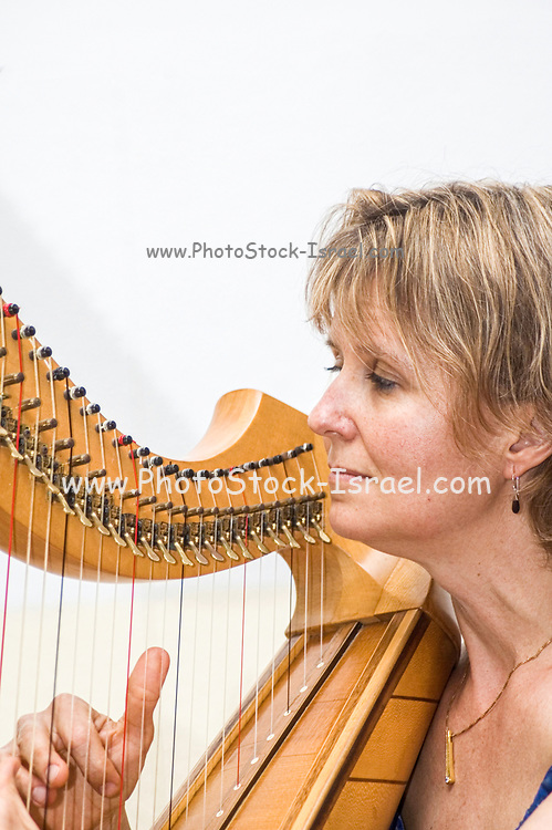 Sunita Staneslow playing a Celtic harp at Jacob's Ladder Festival, Israel May 2005