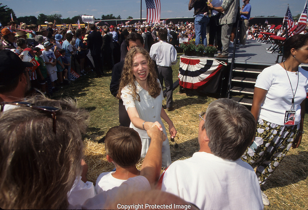 First  daughter Chelsea shakes hands during a stop on a campaign train on their way to the Democratic Convention ..Photograph by Dennis Brack bb30