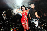 Sonia Siccardi, 28, the singer of the Theatres des Vampires, a Gothic music group, is walking off the stage at the end of the concert at the Slimelight, an exclusive Goth club in London during a night organised by the Vampyre Connexion, on Saturday, 3 February, 2007, in London, England. The Vampyre Connexion is the largest and most active of all the vampire groups in the United Kingdom, counting more than 100 members that for years have gathered regularly in London to share their common love for vampires and the Dark side of life. The Connexion raised from the hashes of the Vampyre Society, the first vampire appreciation group in 1995. The group believe in the fantasy of vampires and such creatures and live it to the full. Its  roots are to be found in the legends of Bram Stokerís Dracula. The group prints its own magazine, ëDark Nightsí featuring drawings, poetry, stories, photography and events. All of the members dress very peculiar clothing, and this is a very important part of the life of the group; it is respected with pride, taste and accuracy for the detail. Most like to dress to be elegant in a range of styles from regency to Victorian, some sew their own. In addition members visit art galleries, cemeteries, churches and cathedrals, attend gigs and concerts, and hold their own parties throughout the year, Halloween being the biggest and scariest one. Membership is open to all, the only qualification: being a love of all things Vampyric.**ItalyOut**