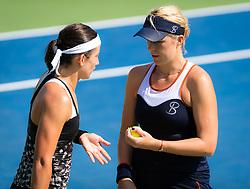 September 5, 2018 - Anastasia Pavlyuchenkova of Russia & Anastasija Sevastova of Latvia during the doubles quarter-final at the 2018 US Open Grand Slam tennis tournament. New York, USA. September 05, 2018. (Credit Image: © AFP7 via ZUMA Wire)
