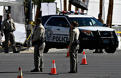 Oct 3,2017. Las Vegas NV.  LV PD do traffic control after Sundays mass shooting.  The latest on victims as of Tuesday is still 59 dead, 527 injured last reported Monday night.  The shooting happen during day 3 of the Route 91 Harvest Festival.. Photo by Gene Blevins/ZumaPress. (Credit Image: © Gene Blevins via ZUMA Wire)