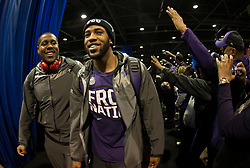 Dec 31, 2014; Atlanta , GA, USA; TCU Horned Frogs players greet fans prior to the game against the Mississippi Rebels in the 2014 Peach Bowl at the Georgia Dome. Mandatory Credit: Paul Abell/CFA Peach Bowl via USA TODAY Sports