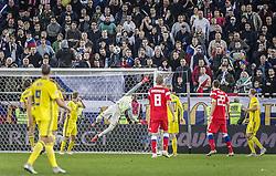 October 11, 2018 - Kaliningrad, Russia - UEFA Nations league, Ryssland - Sverige, 0 - 0. Robin Olsen, fotbollsspelare, Sverige, mÃ¥lvakt, räddar (Credit Image: © Bardell Andreas/Aftonbladet/IBL via ZUMA Wire)