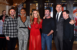 Judges Amanda Holden (centre), Alesha Dixon (second from left), David Walliams (second from right) and Simon Cowell with presenters Anthony 'Ant' McPartlin (left) and Declan 'Dec' Donnelly (right) attending the Britain's Got Talent auditions at the Blackpool Opera House