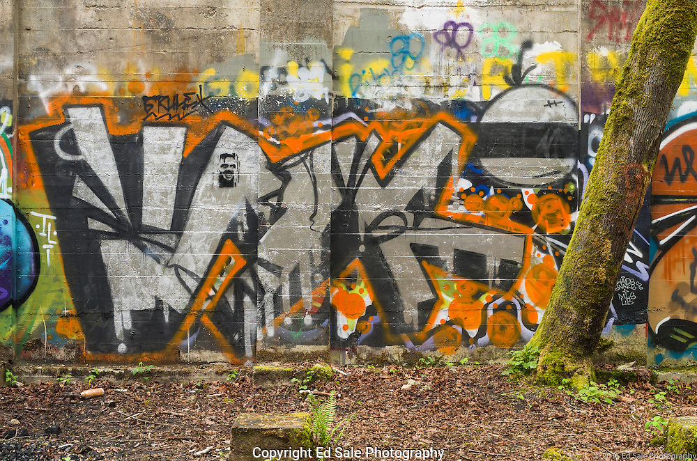Street art painting in old mill building in Vernonia, Oregon depicting name