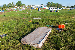 © Licensed to London News Pictures. 10/06/2019. Appleby UK. A mattress is among the rubbish that has been left behind this morning by Travellers leaving the Appleby Horse Fair in Cumbria. Appleby Horse Fair attracts around 10,000 Gypsies & Travellers & is thought to be the largest Gypsy Fair in Europe. Photo credit: Andrew McCaren/LNP