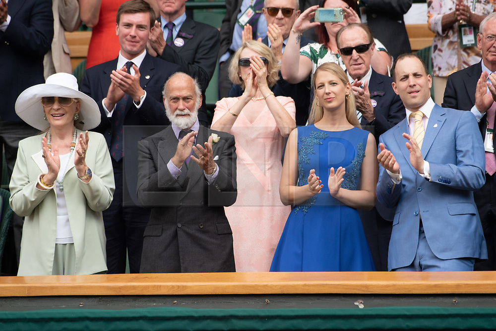 © Licensed to London News Pictures. 04/07/2018. London, UK. Prince Michael of Kent, Princess Michael of Kent, Lady Gabriella Windsor and Lord Fredrick Windsor watch centre court tennis at the Wimbledon Tennis Championships 2018, Day 3. Photo credit: Ray Tang/LNP