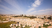 Oval Forum and Cardo Maximus at the Roman city Gerasa near Jerash, Jordan