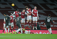 Football - 2020 / 2021 Premier League - Arsenal vs Manchester United - Emirates Stadium<br /> <br /> Bruno Fernandes of United takes a free kick over the Arsenal wall<br /> <br /> COLORSPORT/ANDREW COWIE