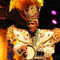 South America, Brazil, Rio de Janerio. Male percussionist musician in the Plataforma Samba Show in Rio.