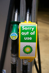 © Licensed to London News Pictures 23/09/2021.<br /> Sidcup, UK, BP petrol station in Sidcup, South East London is closed tonight with no fuel available. BP has started to ration petrol and diesel due to a shortage of truckers. Photo credit:Grant Falvey/LNP
