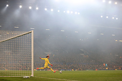 31st October 2017 - UEFA Champions League - Group A - Manchester United v SL Benfica - Smoke engulfs the stadium as Benfica goalkeeper Mile Svilar takes a goal-kick - Photo: Simon Stacpoole / Offside.