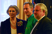 © Licensed to London News Pictures. 11/09/2013. London, UK (left to right) April Ashley, MBE, a transgender model and restaurant hostess.  Human rights campaigner Peter Tatchell. Gary Everett  of Homotopia. The Deputy Prime Minister, Nick Clegg, hosts a reception at Admiralty House in Whitehall this evening, 11 September 2013, to celebrate the government's progress in equal marriage. From next year gay people will be able to get married. A number of high profile guests including openly supportive celebrities, campaigners, religious figures and charities were in attendance.<br /> The London Gay Men Chorus Ensemble performed at the event. . Photo credit : Stephen Simpson/LNP