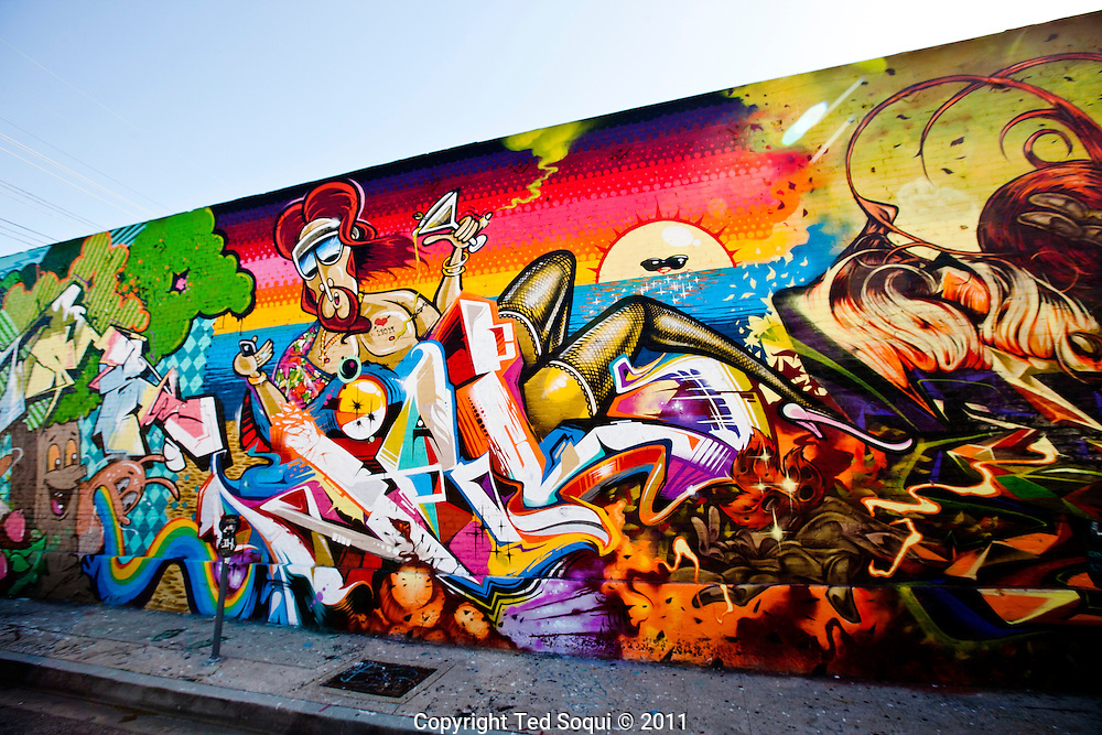 Street art in Los Angeles..L.A. has become the new ground zero for avant-guard and cutting edge street and graffiti. Artist from around the world now come to L.A. to post their work.