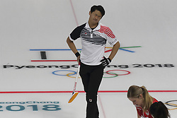 February 11, 2018 - Gangneung, GANGWON, SOUTH KOREA - Feb 11, 2018-Gangneung, South Korea-Lee Ki Jeong of South Korea and Kaitlyn Lawes of Canada action during the 2018 Pyeongchang Winter Olympic Curling Mix Double Session 7th D Korea v Canada at Curling Center in Gangneung, South Korea. (Credit Image: © Gmc via ZUMA Wire)