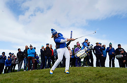 Auchterarder, Scotland, UK. 15 September 2019. Sunday Singles matches on final day  at 2019 Solheim Cup on Centenary Course at Gleneagles. Pictured; Caroline Headwall of Team Europe plays approach shot to the 7th green from rough. Iain Masterton/Alamy Live News
