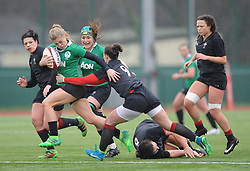 Ireland women's Ailsa Hughes tackled by Wales women's Jade Knight<br /> <br /> Photographer Mike Jones/Replay Images<br /> <br /> International Friendly - Wales women v Ireland women - Sunday 21st January 2018 - CCB Centre for Sporting Excellence - Ystrad Mynach<br /> <br /> World Copyright © Replay Images . All rights reserved. info@replayimages.co.uk - http://replayimages.co.uk