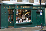 Fine art supply store, L. Cornelissen & Son, on 7th October 2015 in London, United Kingdom. The artist supply shop sells high end, hard to find artist materials in central London and has been trading since 1855.
