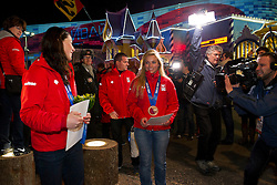 12.02.2014, Olympic Park, Adler, RUS, Sochi, 2014, Medaillenfeier, Abfahrt Damen, im Bild Lara Gut (SUI) mit Bronzemedaille an der Medaillenfeier im House of Switzerland // during Ladies Downhill Medal Ceremony of the Olympic Winter Games Sochi 2014 at the Olympic Park in Adler, Russia on 2014/02/12. EXPA Pictures © 2014, PhotoCredit: EXPA/ Freshfocus/ Urs Lindt<br /> <br /> *****ATTENTION - for AUT, SLO, CRO, SRB, BIH, MAZ only*****
