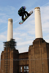 © Licensed to London News Pictures. 28/10/2011, London, UK.  Britain's  Lewis Courtier Jones jumps during the Battle of Britain snowboard competition at the Freeze Snowboard and Ski Festival at Battersea Power Station in London, Friday, Oct. 28, 2011. Photo credit : Sang Tan/LNP