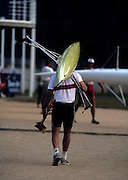 Barcelona, SPAIN.  GER M1X, Thomas LANGE, Gold medalist. men's single sculls, carries his boat and sculls back to the boat rack.  1992 Olympic Rowing Regatta Lake Banyoles, Catalonia [Mandatory Credit Peter Spurrier/ Intersport Images]
