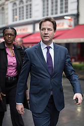 © licensed to London News Pictures. London, UK 07/03/2013. Deputy Prime Minister, Nick Clegg arriving LBC Radio Studio in Leicester Square, London on Thursday, 07 March 2013 after his Call Clegg radio programme ahead of the Spring Conference. Photo credit: Tolga Akmen/LNP
