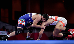 JAKARTA, Aug. 19, 2018  Hassan Yazdanicharati (L)of Iran celebrates after Men's Wrestling Freestyle 86 kg Final against Domenic Michael Abounader of Lebanon at the 18th Asian Games at Jakarta, Indonesia, Aug. 19, 2018. (Credit Image: © Yue Yuewei/Xinhua via ZUMA Wire)