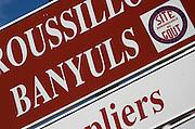 Street sign: Roussillon Banyuls. Banyuls sur Mer, Roussillon, France