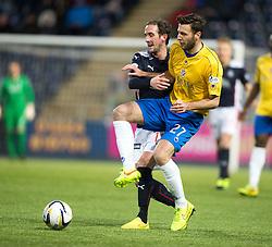 Falkirk's Mark Kerr and Cowdenbeath's Marcus Fraser. <br /> Falkirk 1 v 0 Cowdenbeath, Scottish Championship game played 31/3/2015 at The Falkirk Stadium.