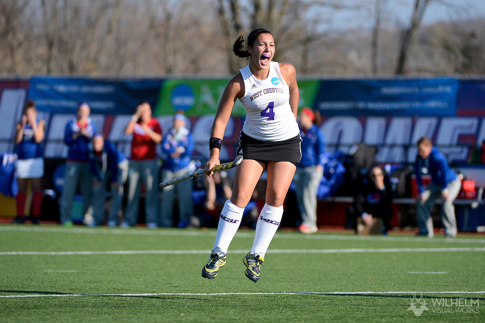 11 NOV 2012:  Stef Pirri (04) of West Chester University celebrates the first goal against University of Massachusetts - Lowell during the 2012 NCAA Women's Division II Field Hockey Championship held at Lester H. Cushing Field on the campus of University of Massachusetts - Lowell in Lowell, MA. West Chester defeated UMass Lowell 5-0 to win the national title. Brett Wilhelm/ NCAA Photos