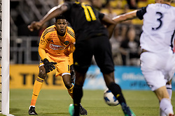 May 9, 2018 - Columbus, OH, U.S. - COLUMBUS, OH - MAY 09: Philadelphia Union goalkeeper Andre Blake (18) focuses on the ball as Philadelphia Union defender Jack Elliott (3) pushes Columbus Crew forward Gyasi Zerdes (11) as he approached the goal in the MLS regular season game between the Columbus Crew SC and the Philadelphia Union on May 09, 2018 at Mapfre Stadium in Columbus, OH. The Crew won 1-0. (Photo by Adam Lacy/Icon Sportswire) (Credit Image: © Adam Lacy/Icon SMI via ZUMA Press)