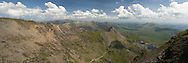 Panoramic view from the ridge leading to the summit of Snowdon looking down the Afon Glaslyn valley along Crib Goch, Snowdonia, North Wales