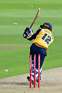 Jonathan Tattersall of Yorkshire  bowled during the Vitality T20 Blast North Group match between Nottinghamshire County Cricket Club and Yorkshire County Cricket Club at Trent Bridge, Nottingham, United Kingdon on 31 August 2020.