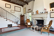 interior of old house, classic furniture, living room with fireplace